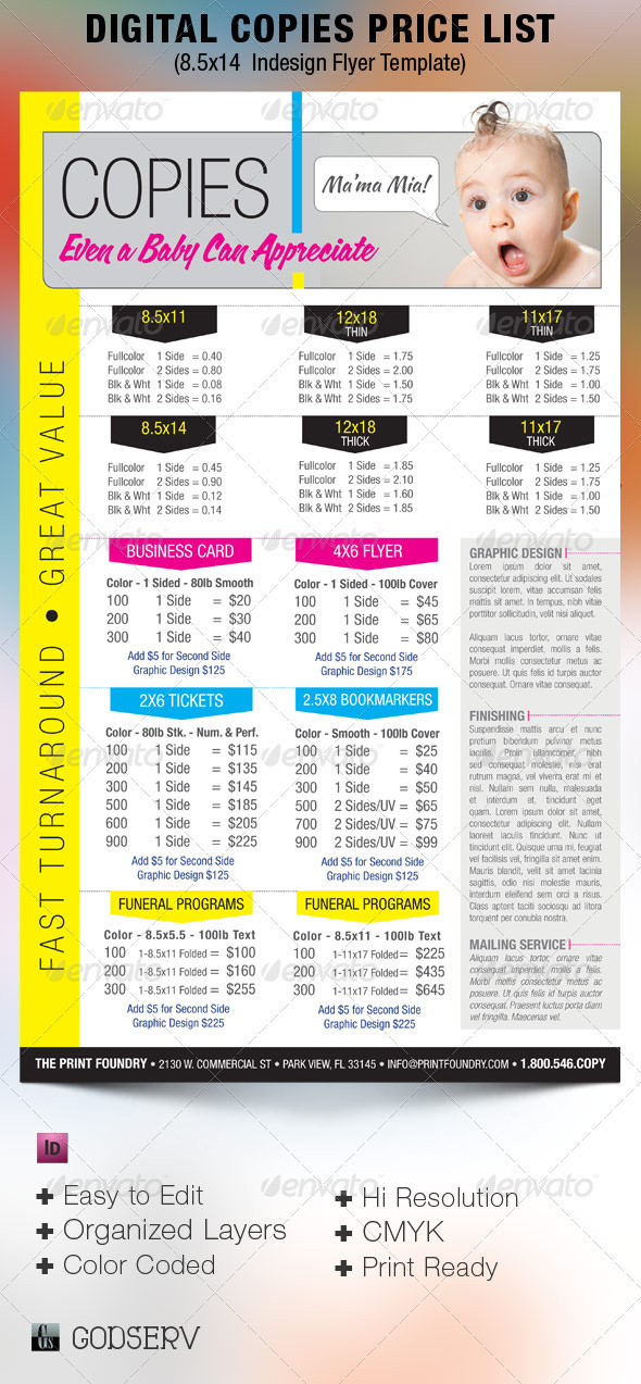 Digital Printing Price List Flyer Template - Commerce Flyers
