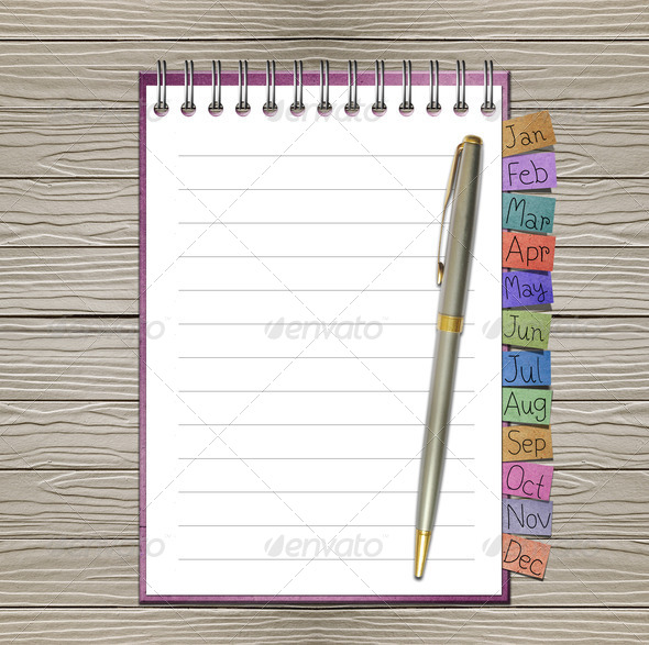 Open note book with bookmark and pen - Stock Photo - Images
