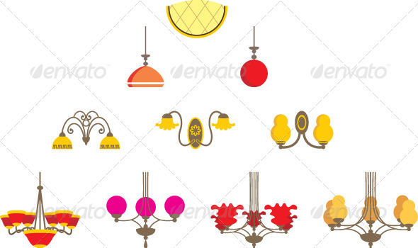 Set of chandeliers - Objects Vectors