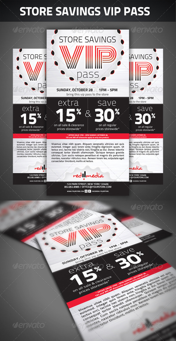 Store savings VIP pass GraphicRiver - Print Templates -  Cards & Invites 2670358