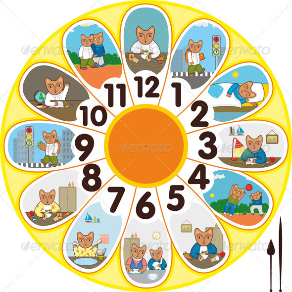 Clock Cat Schoolchild - Conceptual Vectors