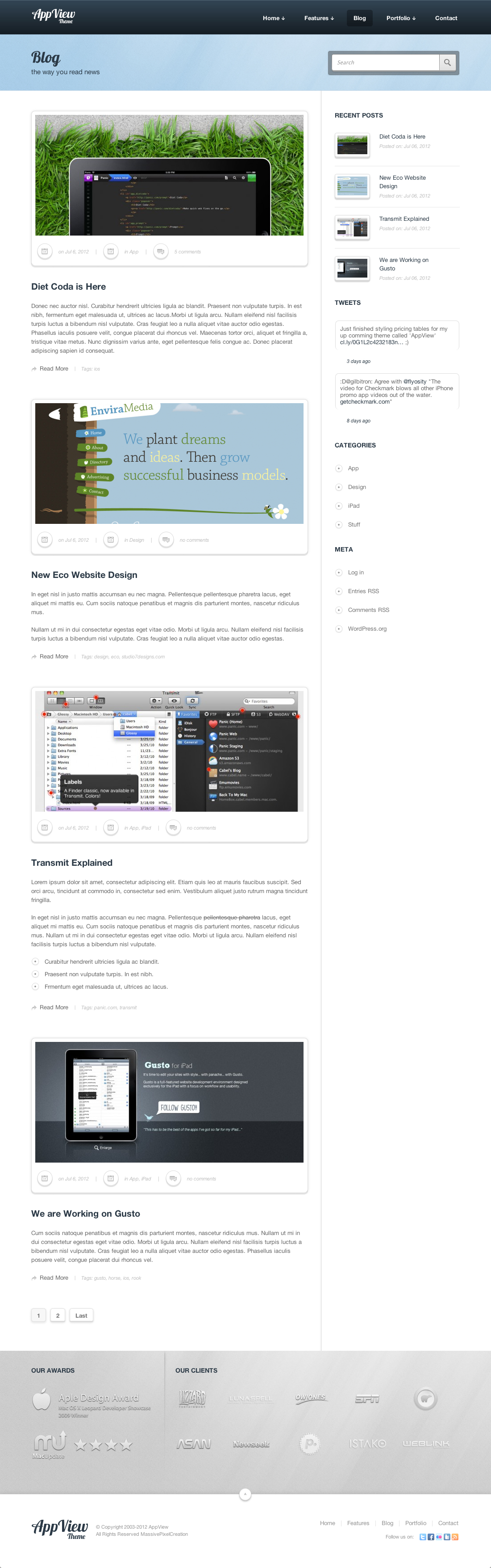 AppView Professional Portfolio WordPress Theme - Screenshot 1 - Blog