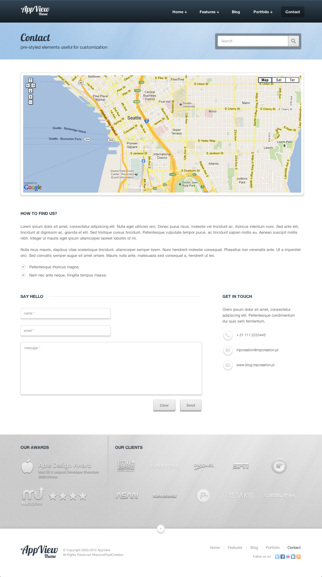 AppView Professional Portfolio WordPress Theme - Screenshot 1 - Contact Page