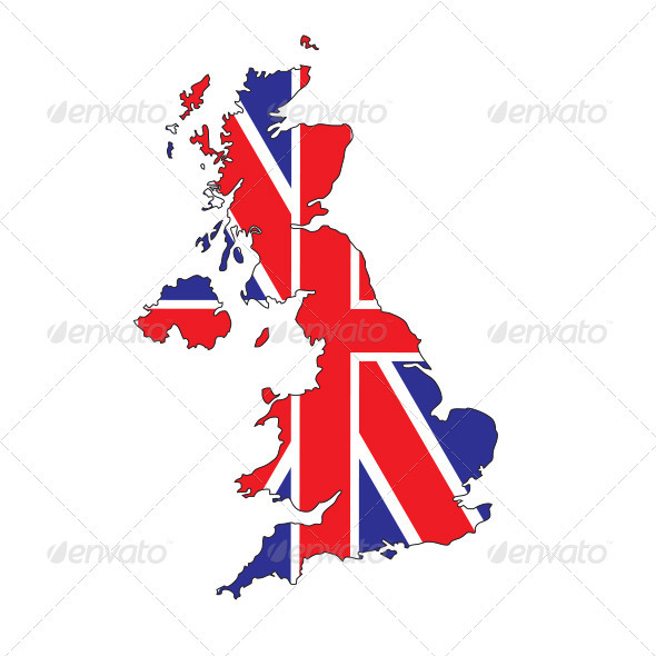 GraphicRiver UK Map with Union Jack Flag 2677660