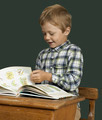 Student child in the school isolated over green blackboard - PhotoDune Item for Sale