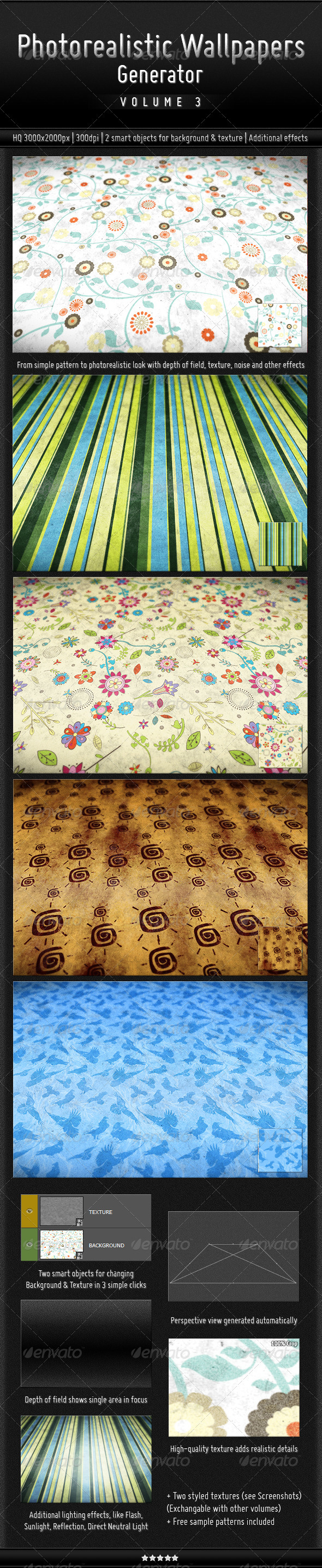 Photorealistic Wallpapers Generator, Vol. 3 - Patterns Backgrounds