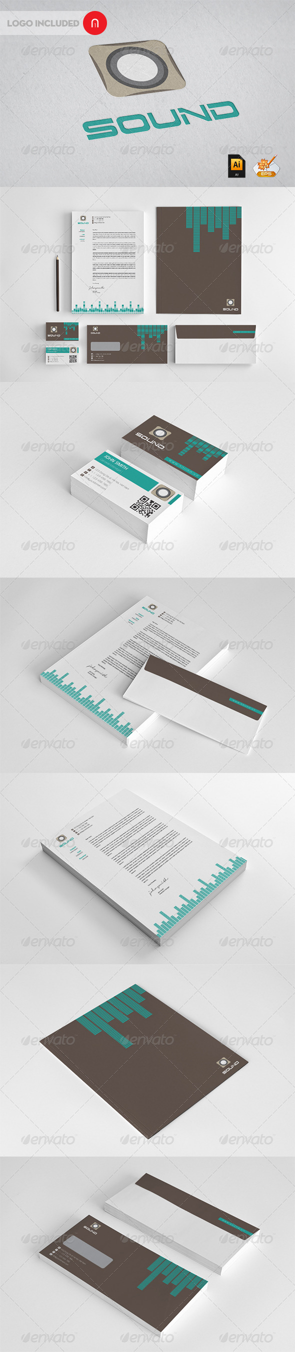 Sound Corporate Identity - Stationery Print Templates