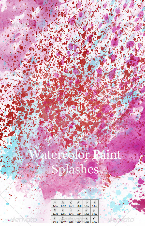 18 Faded Water Color Splashes  - Artistic Brushes