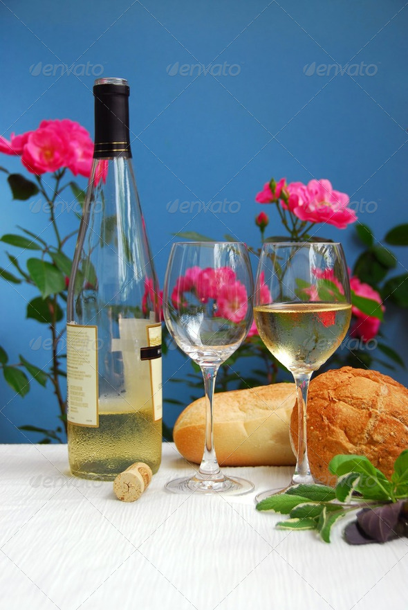 White Wine With Glasses - Stock Photo - Images