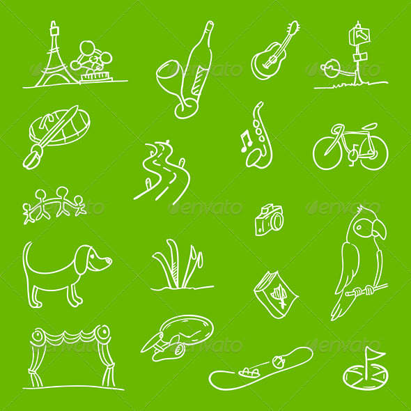 Hobby Symbols Illustration - Backgrounds Decorative