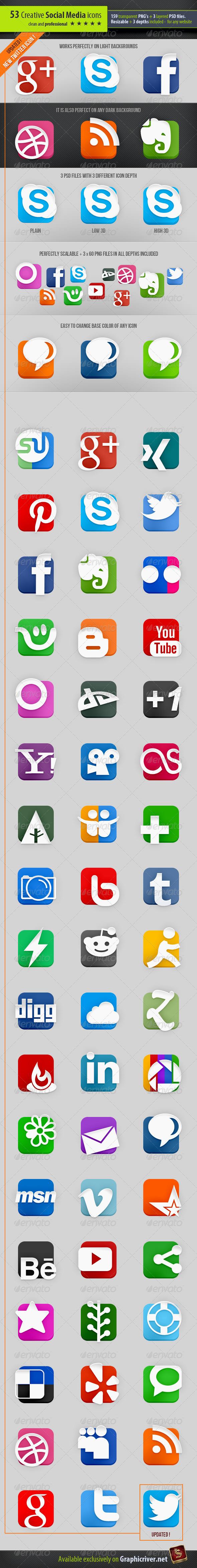 GraphicRiver 53 Creative Social Media Icons 2585079