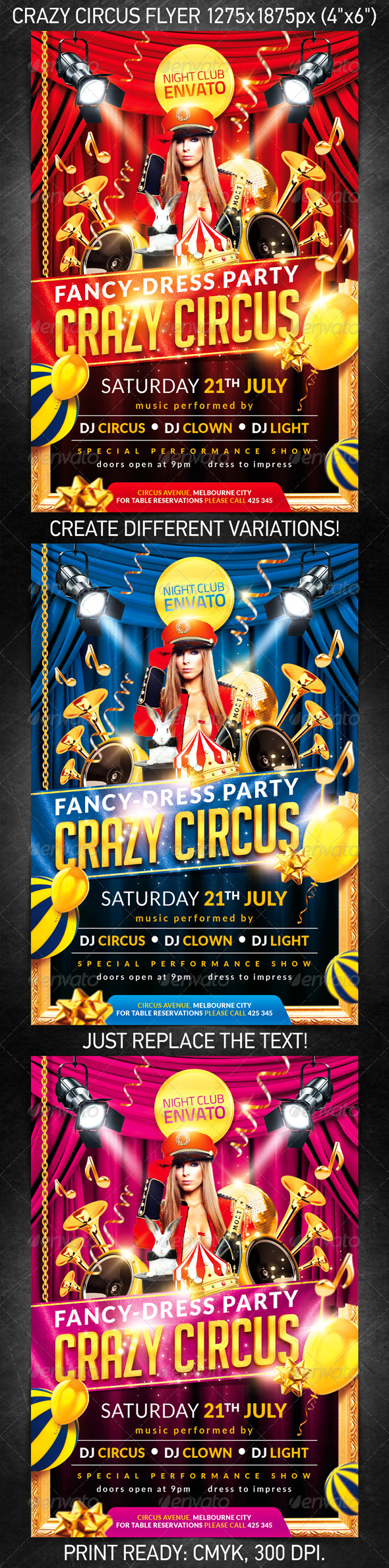 Crazy circus party flyer - Flyers Print Templates