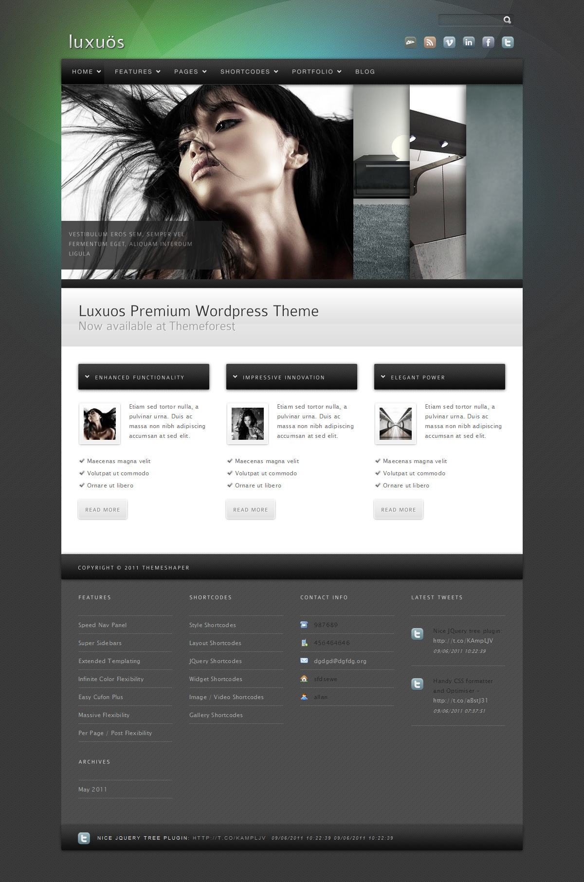 Luxuos - The default homepage with accordion slider, 400px height. 3 other sliders and 3 other height headers available.
