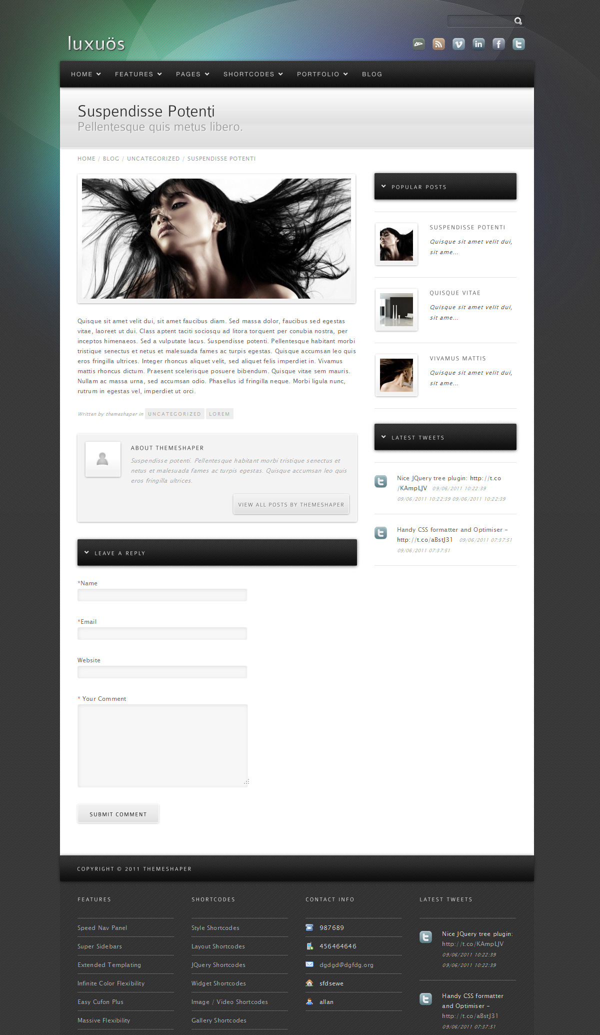 Luxuos - The single post page, default 2 column template
