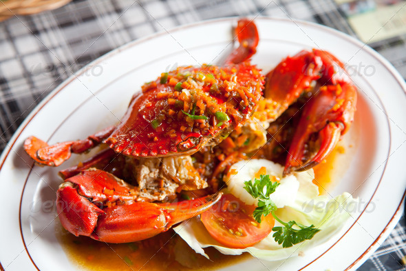 crabs with spicy sauce - Stock Photo - Images