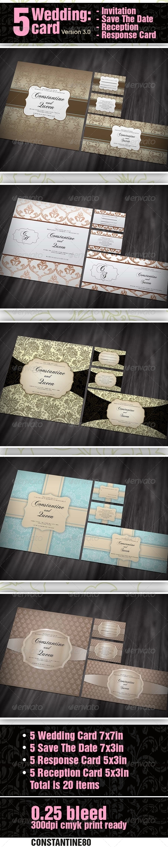 GraphicRiver 5 items Wedding card ver 3.0 2680936