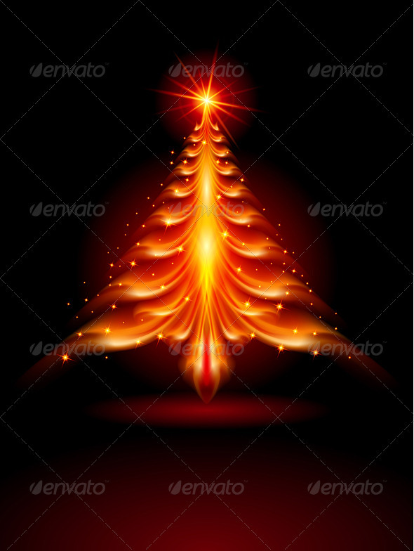 Fire Christmas Tree - Christmas Seasons/Holidays