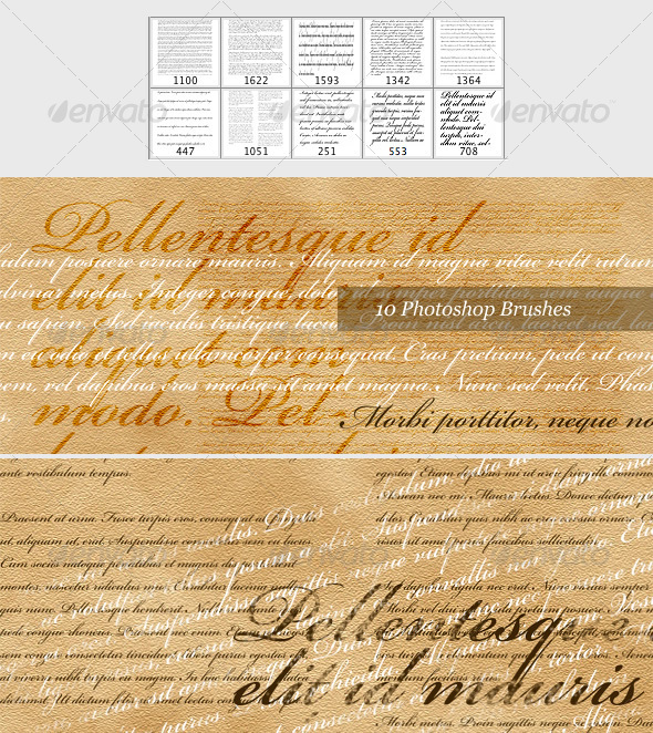 Latin Text Brush Pack (10 Photoshop Brushes) - Miscellaneous Brushes