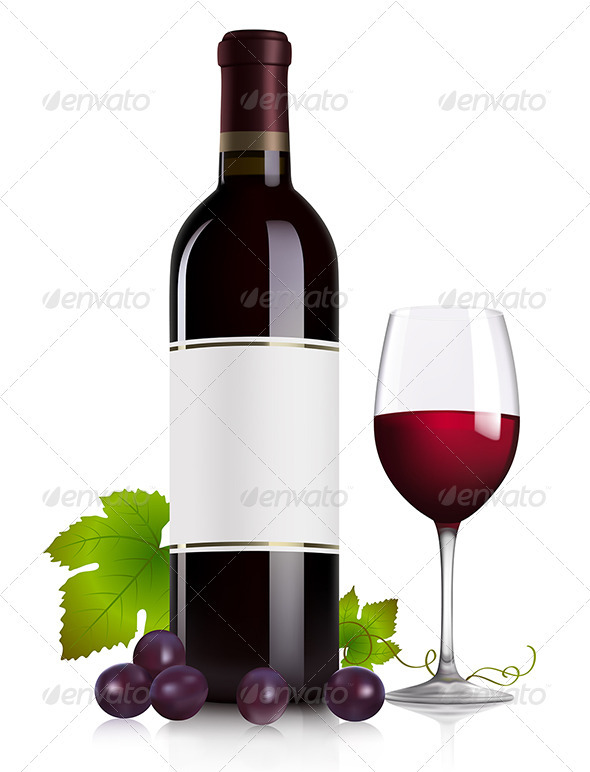 Red wine and grape - Food Objects