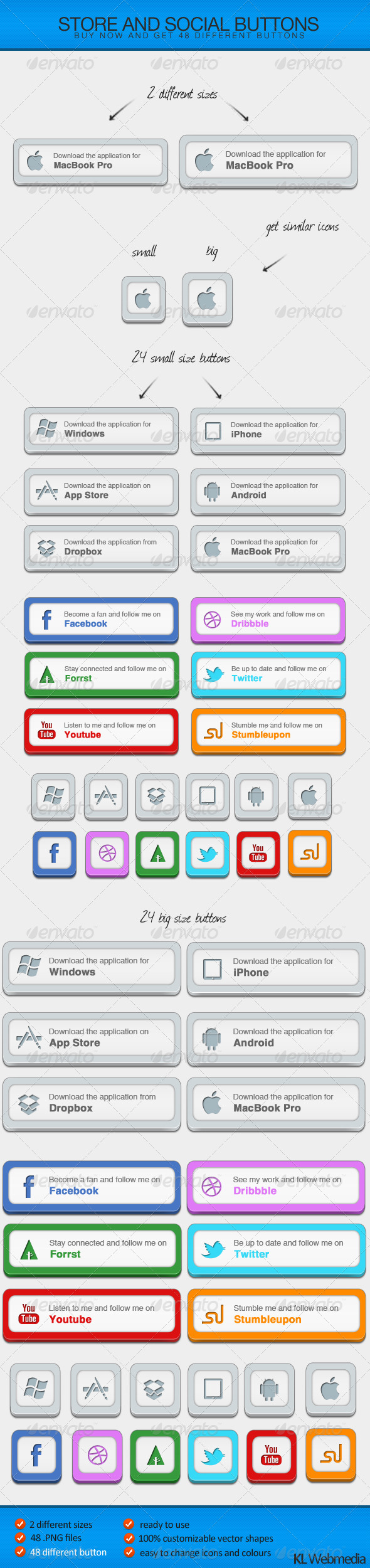 Store and Social Buttons - Buttons Web Elements