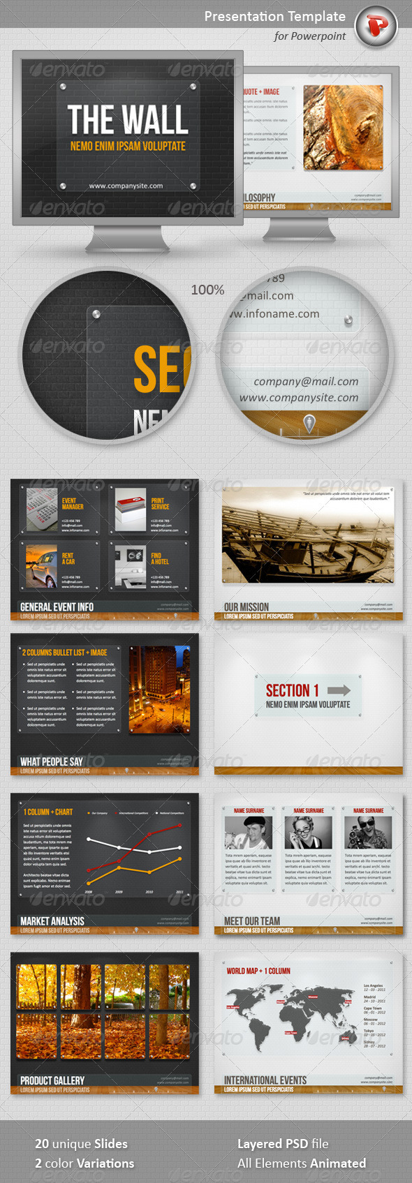 The Wall PowerPoint Template - Powerpoint Templates Presentation Templates