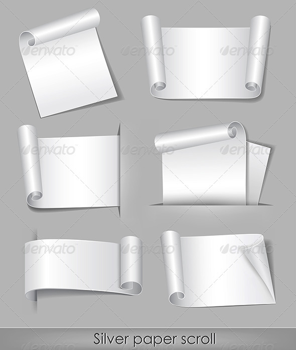 Silver paper scroll  - Web Elements Vectors