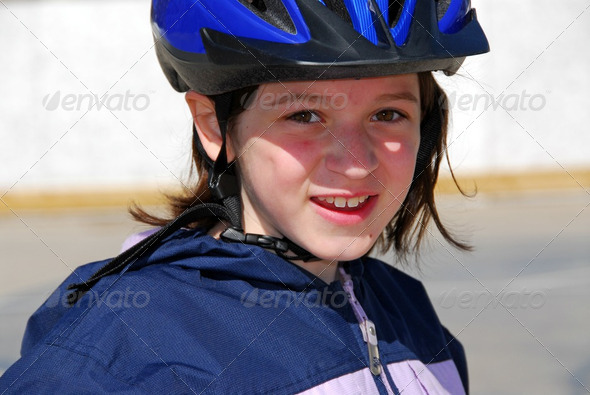 Girl Portrait Helmet - Stock Photo - Images