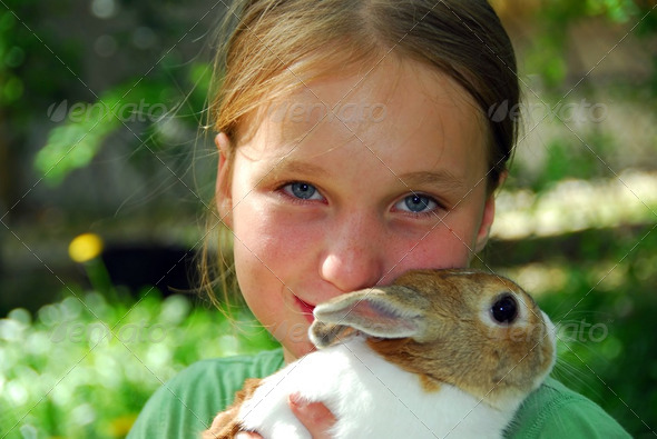 Girl And Bunny - Stock Photo - Images