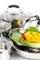 Stainless Steel Pots And Pans With Vegetables - PhotoDune Item for Sale