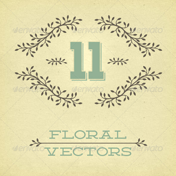 11 Leafy Bowers Floral Vectors - Decorative Vectors