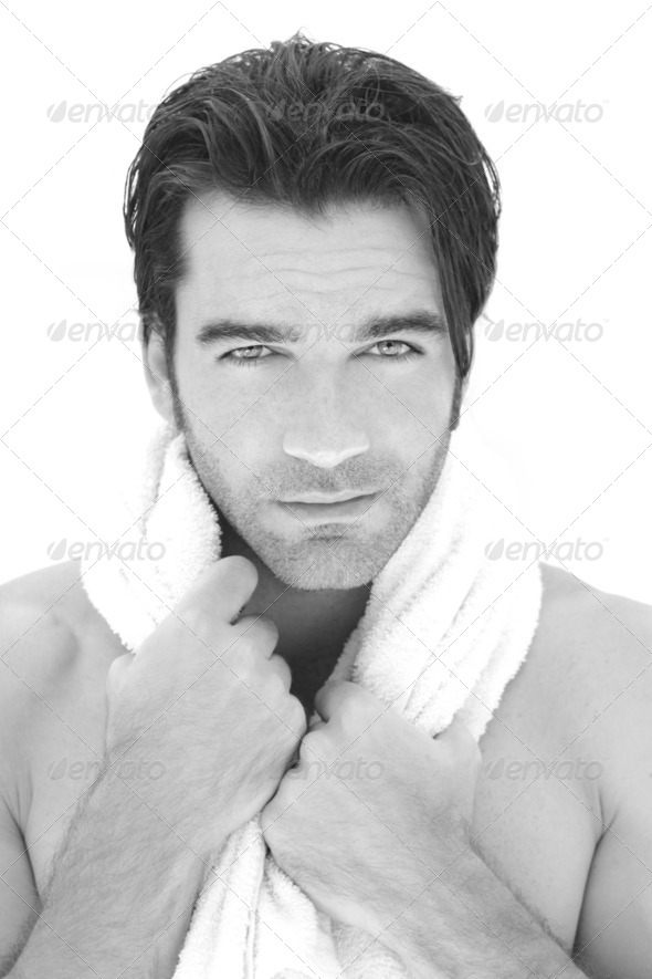 Man with towel - Stock Photo - Images