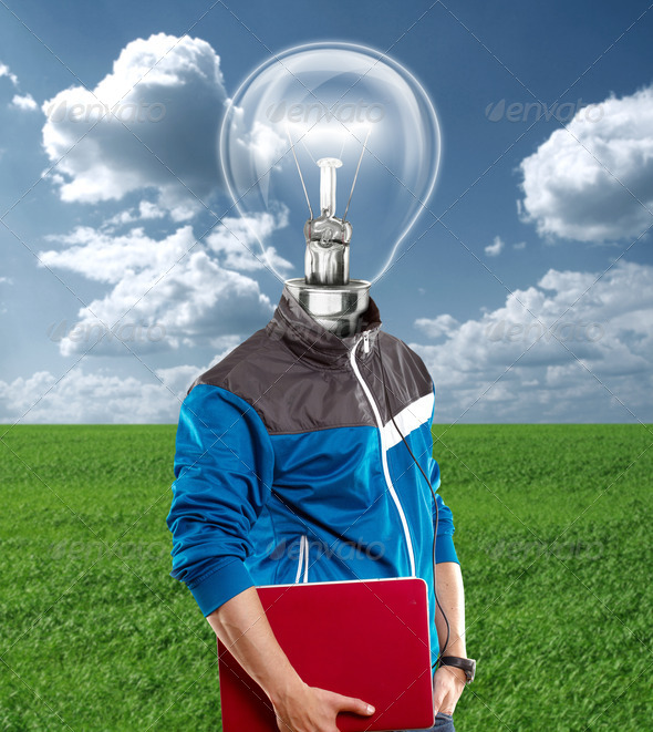 Lamp Head Man With Laptop - Stock Photo - Images