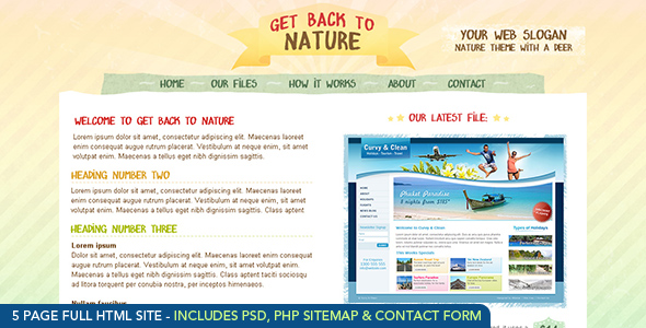 Get Back To Nature - Full Site - HTML and PSD