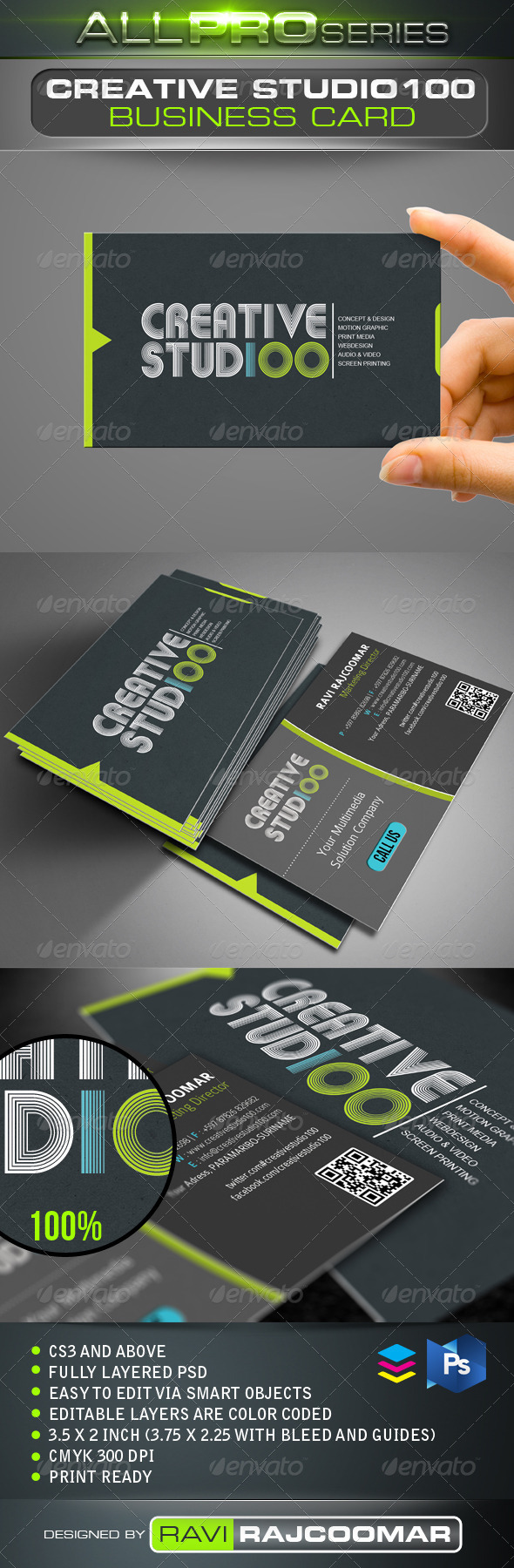 Creative Studio100 Business Card - Creative Business Cards