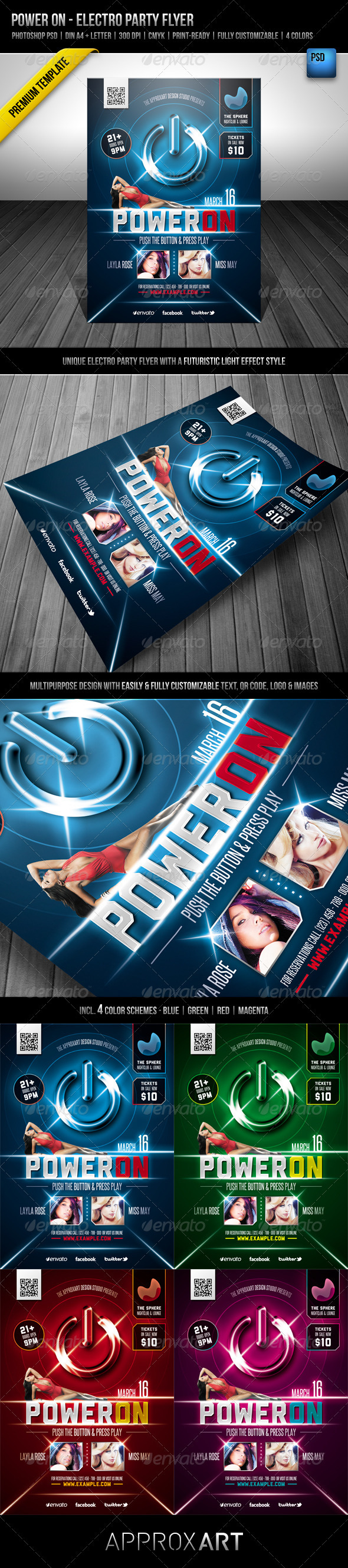 Power On - Electro Party Flyer - Clubs & Parties Events