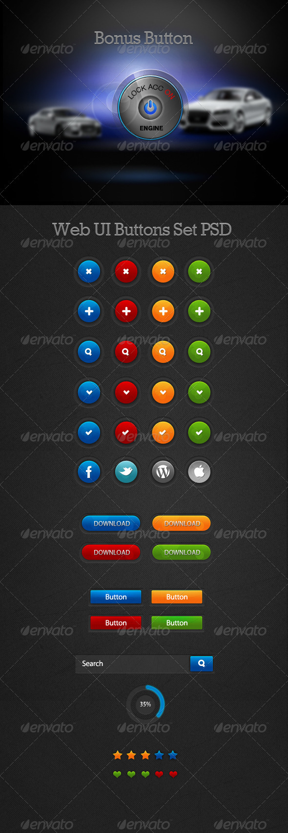 4 Small Crisp Web UI Buttons Set PSD  - Buttons Web Elements