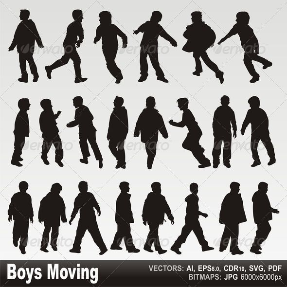 Boys in action silhouettes GraphicRiver - Vectors -  Characters  People 2694513