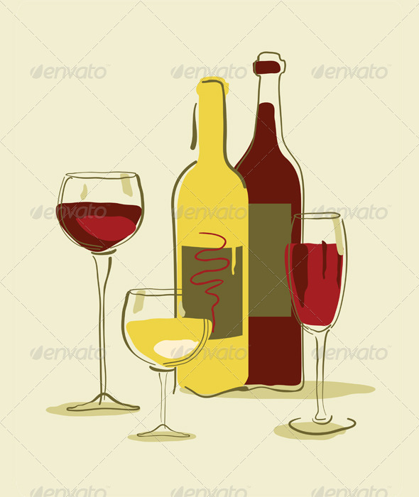 Different wine bottles and glass of wine  - Food Objects