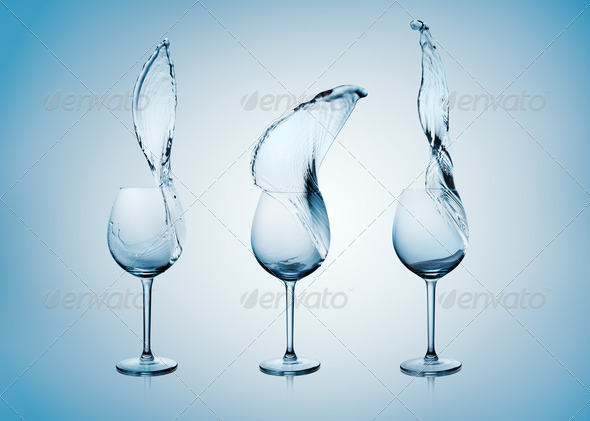 Water Splash in Wine Glass. - Stock Photo - Images