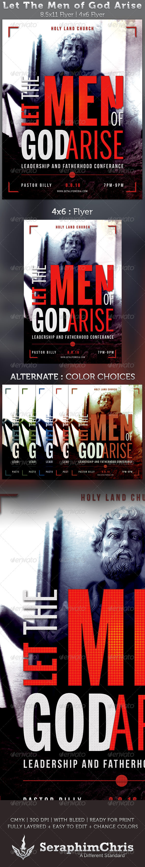 Let The Men of God Arise Church Flyer Template - Church Flyers