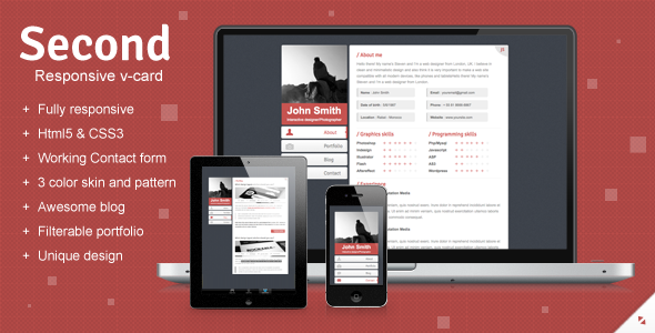 ThemeForest Second Responsive V-card Template 2644479