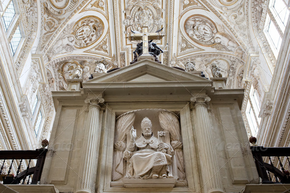 Bishop Sculpture in Cordoba Cathedral - Stock Photo - Images