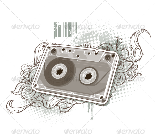 Audio tape on bizarre background - Objects Vectors