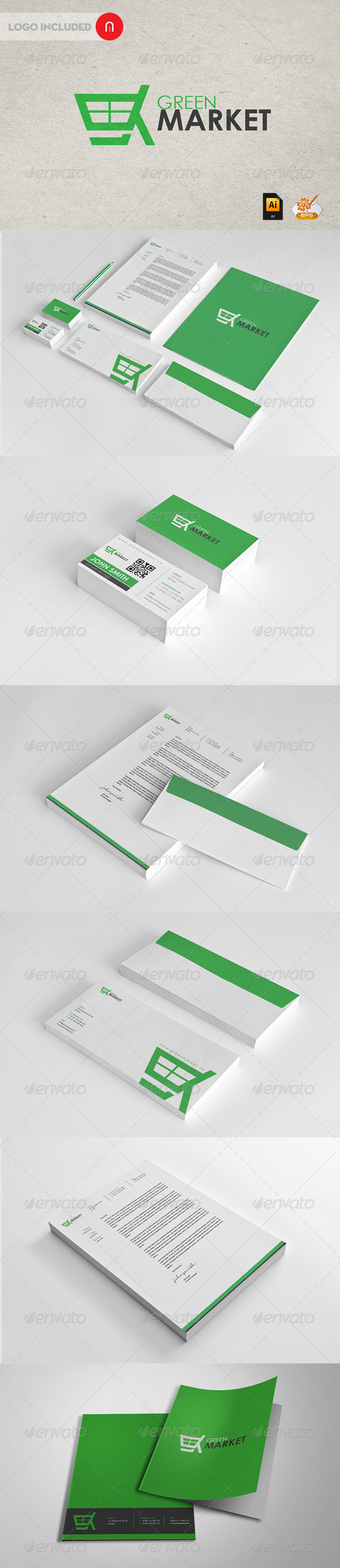Green Market Corporate Identity - Stationery Print Templates