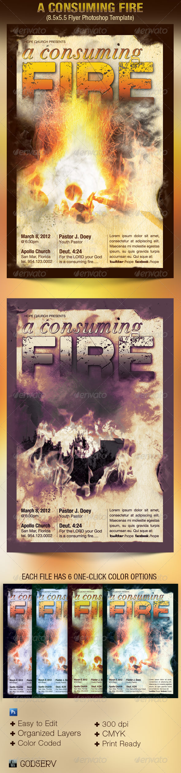 GraphicRiver A Consuming Fire Church Flyer Template 2703743