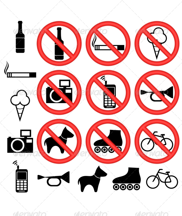 Prohibitory signs. - Decorative Symbols Decorative