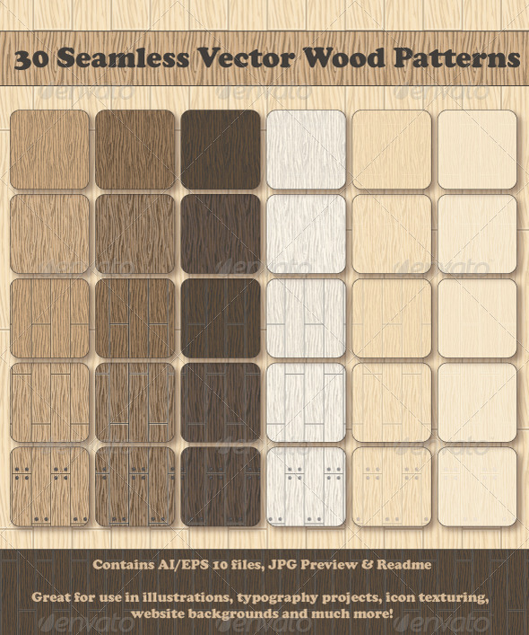 GraphicRiver 30 Seamless Vector Wood Patterns 2704001