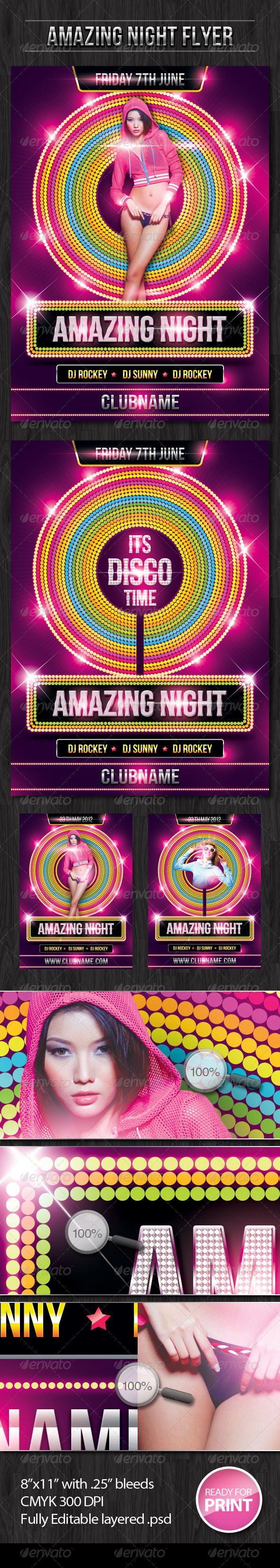 Amazing Night Flyer - Clubs & Parties Events