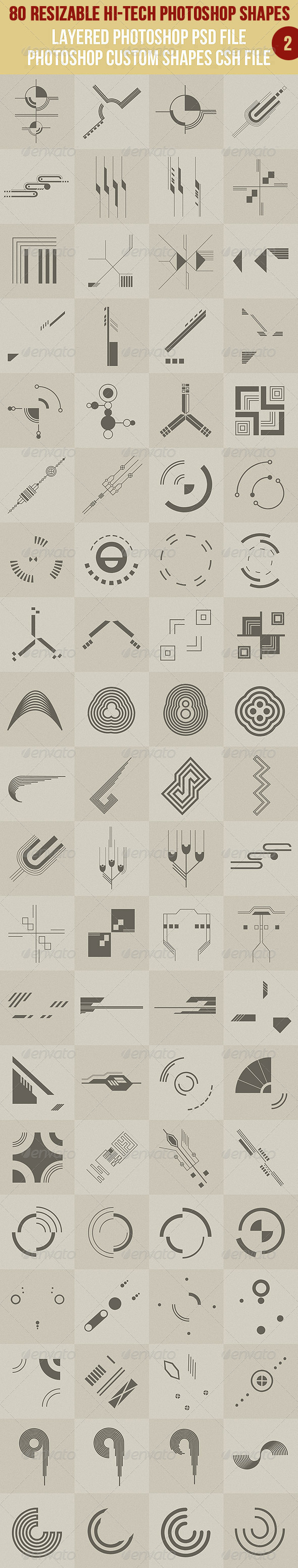 80 Photoshop Hi-Tech Shapes 2 - Symbols Shapes