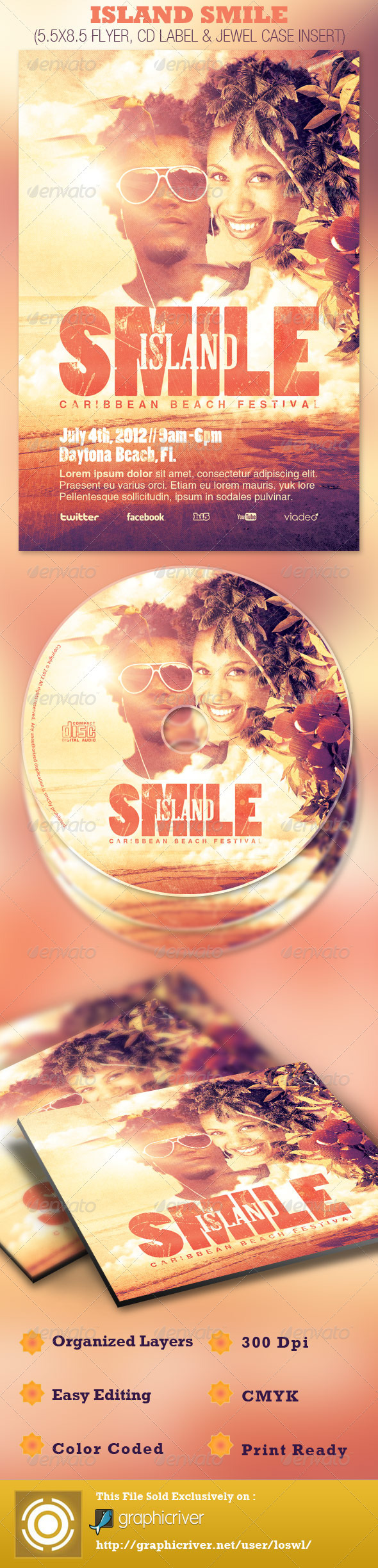 Island Smile Event Flyer and CD Template - Events Flyers